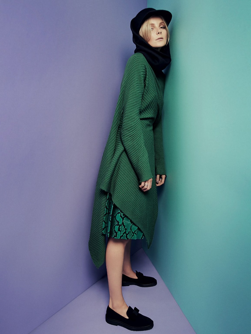 Eniko Mihalik Wears Colorful Knitwear in Cover Story of BAZAAR Russia