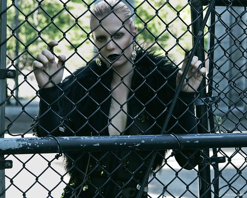 The Blonds Cat Suit, Lie Sang Bing Fur, Versace Earrings
