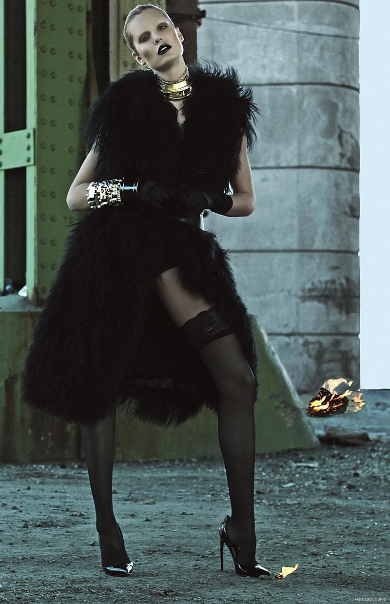 Lie Sang Bong Fur & Belt, Wolford Stockings, Pluma Italia Bracelet, Elizabeth Cole Necklace, Christian Louboutin Shoes