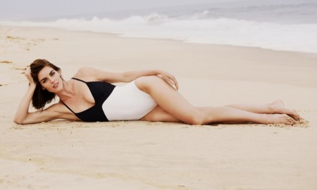 Hilary Rhoda poses for Solid & Striped swimsuit collaboration