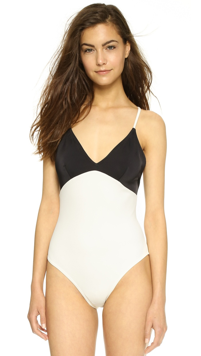 Hilary Rhoda x Solid Striped One-Piece Swimsuit available for $198.00