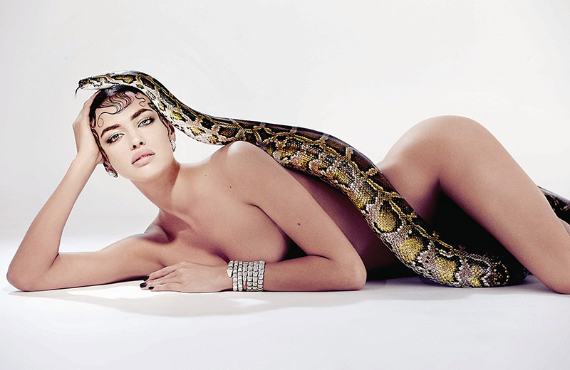 Irina Shayk poses nude with a snake for Sorbet Magazine