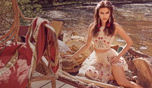 Irina Shayk Enchants in Festival Style for Bebe