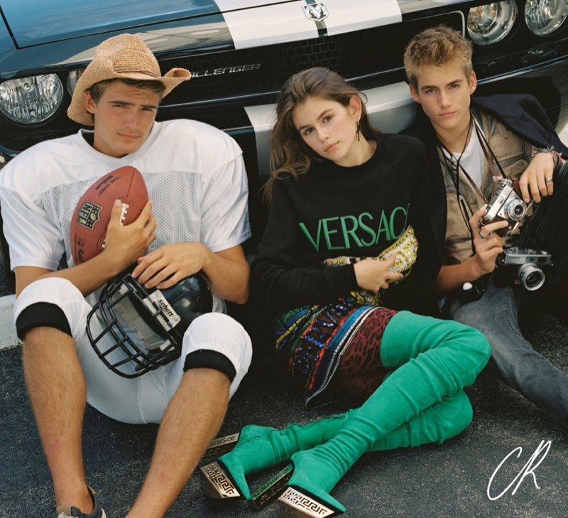 Kaia Gerber with brother Presley in CR Fashion Book