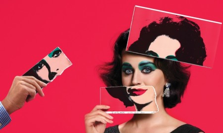 Katy Perry as Elizabeth Taylor for Harper's Bazaar.  Andy Warhol Artwork © The Andy Warhol Foundation for the Visual Arts, Inc. / Artists Rights Society (ARS), New York.