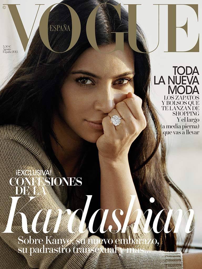 Kim Kardashian Goes Makeup Free on Vogue Spain Cover