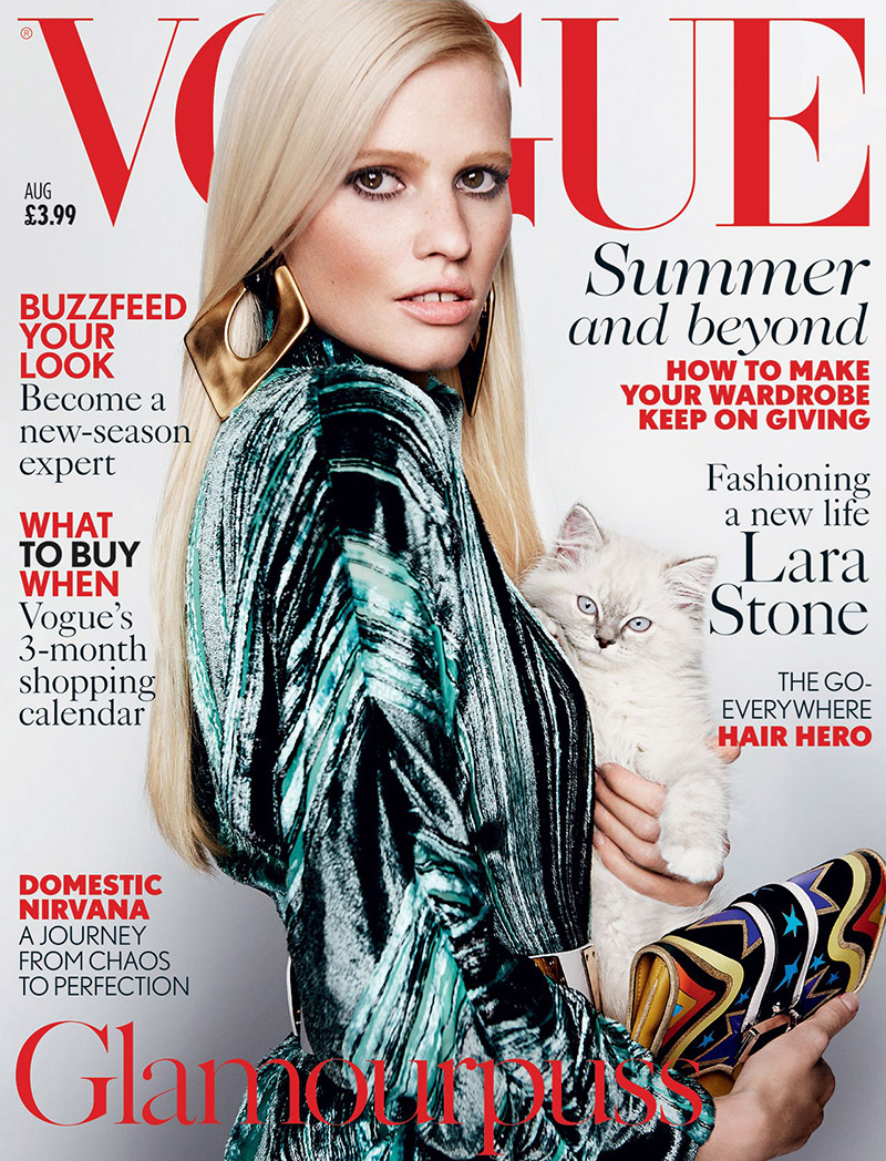 Lara Stone poses with cat on Vogue UK August 2015 cover