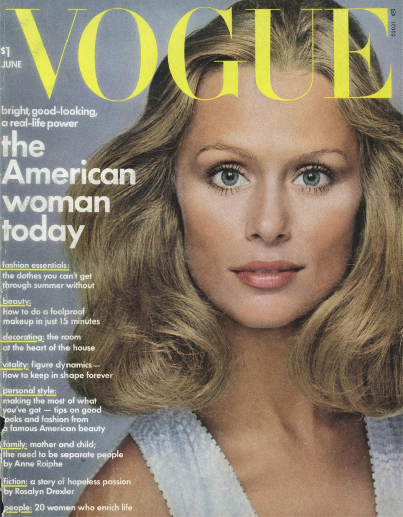 Lauren Hutton on the August 1973 cover of Vogue