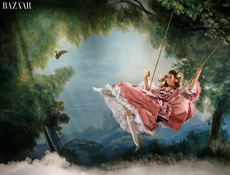 Mariah Carey as Marie Antoinette for Harper's Bazaar.