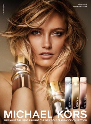 Karmen Pedaru is a Golden Beauty in Michael Kors Fragrance Ad