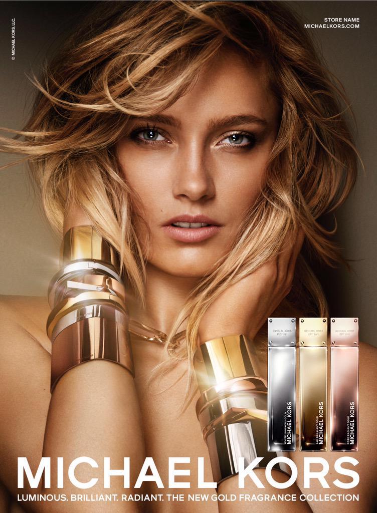 Karmen Pedaru is a Golden Beauty in Michael Kors Fragrance Ad