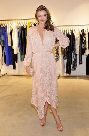Miranda Kerr is Pretty in Pink at Zimmermann Melrose store Opening