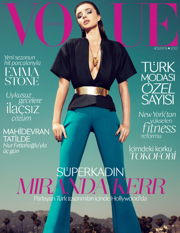 The Australian model posed for the August 2012 cover of Vogue Turkey, flaunting major cleavage