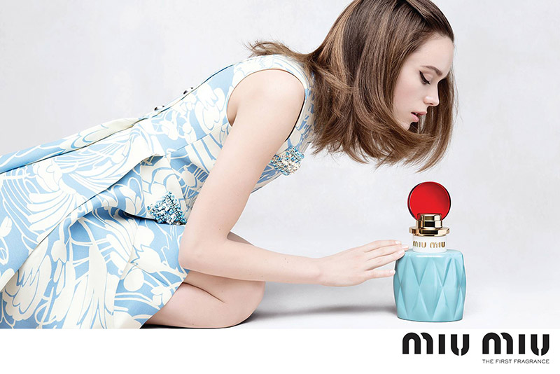 Stacy Martin is a Blue Beauty in Debut Miu Miu Fragrance Ad