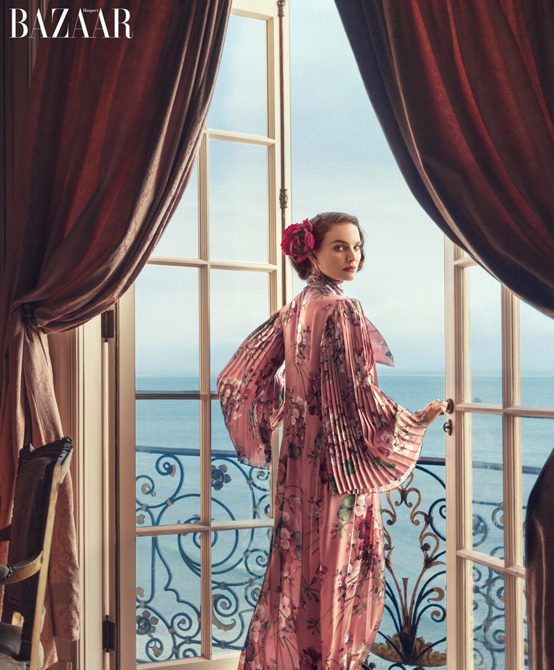 Natalie Portman models a printed Gucci dress