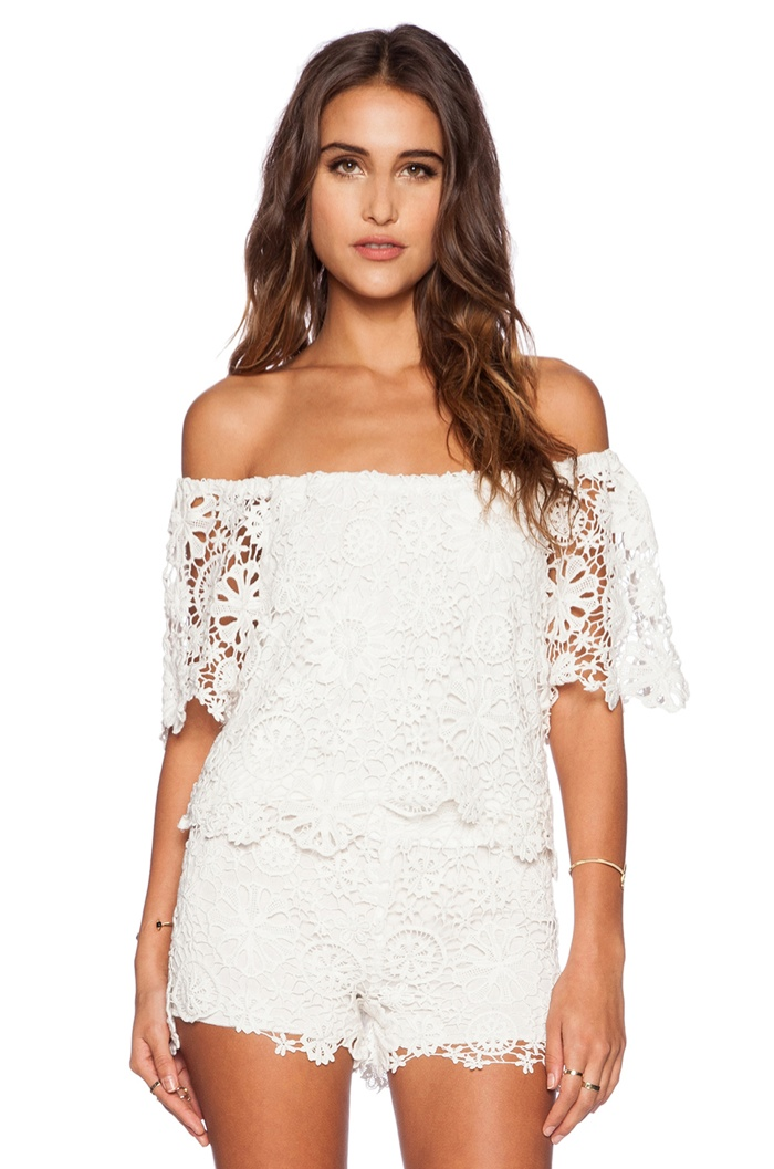 Nightcap 'Caribbean' Crochet Cropped White Blouse available for $297.00