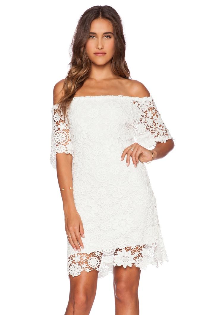 Nightcap 'Caribbean' Crochet Off-the-Shoulder White Dress available for $297.00