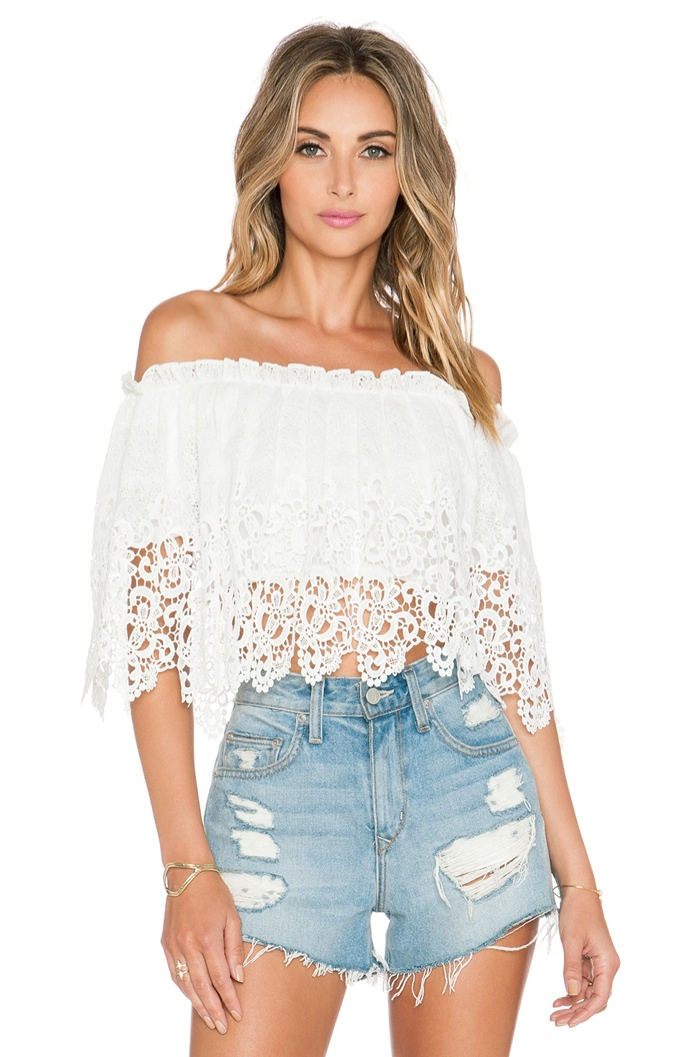 Oh My Love Off-the-Shoulder Lace White Blouse available for $53.00
