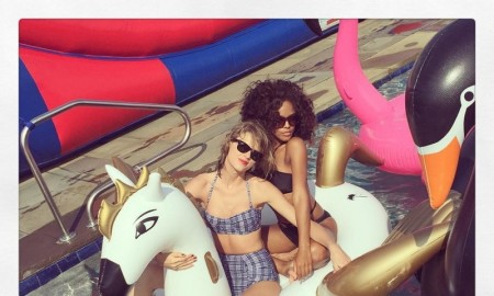 Taylor Swift wears seersucker bikini from ASOS while with Serayah. Photo: Instagram