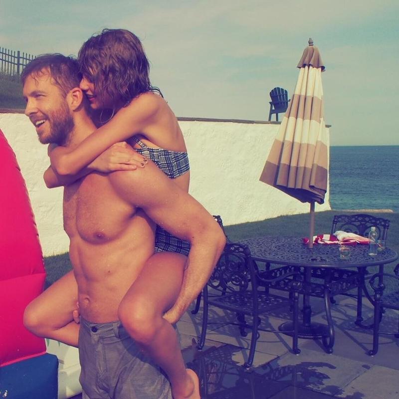 Taylor Swift with Calvin Harris in seersucker bikini. Photo via Instagram.