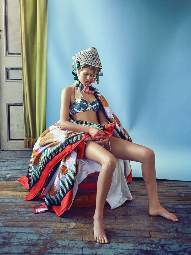 Toni Garrn Sports Colorful Hats & Swim Looks for Vogue Korea