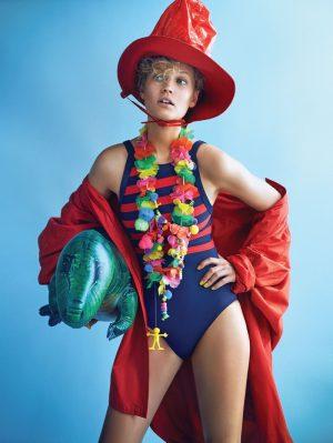 Toni Garrn Sports Colorful Hats & Swim Looks for Vogue Korea