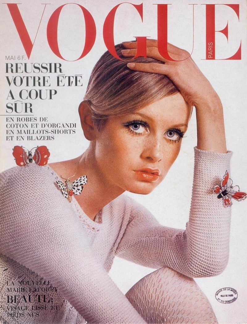 Twiggy on 1967 cover of Vogue Paris