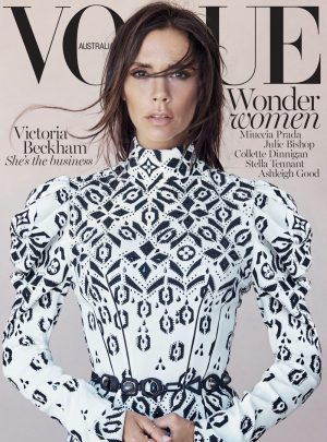 Victoria Beckham Sports Messy Hair for Vogue Australia Cover