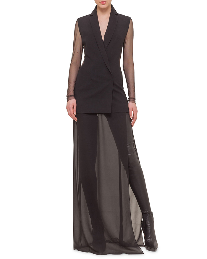 Akris Sheer Jacket Style Combo Gown