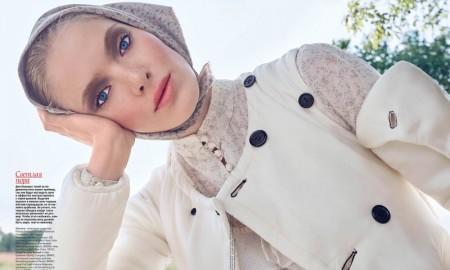 Anastasia Kolganova channels folk style for the beauty editorial