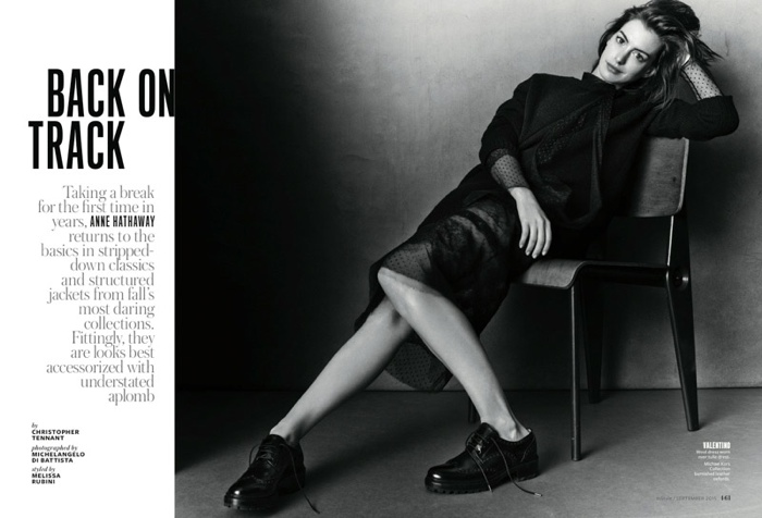 The actress wears tomboy style for the black and white feature
