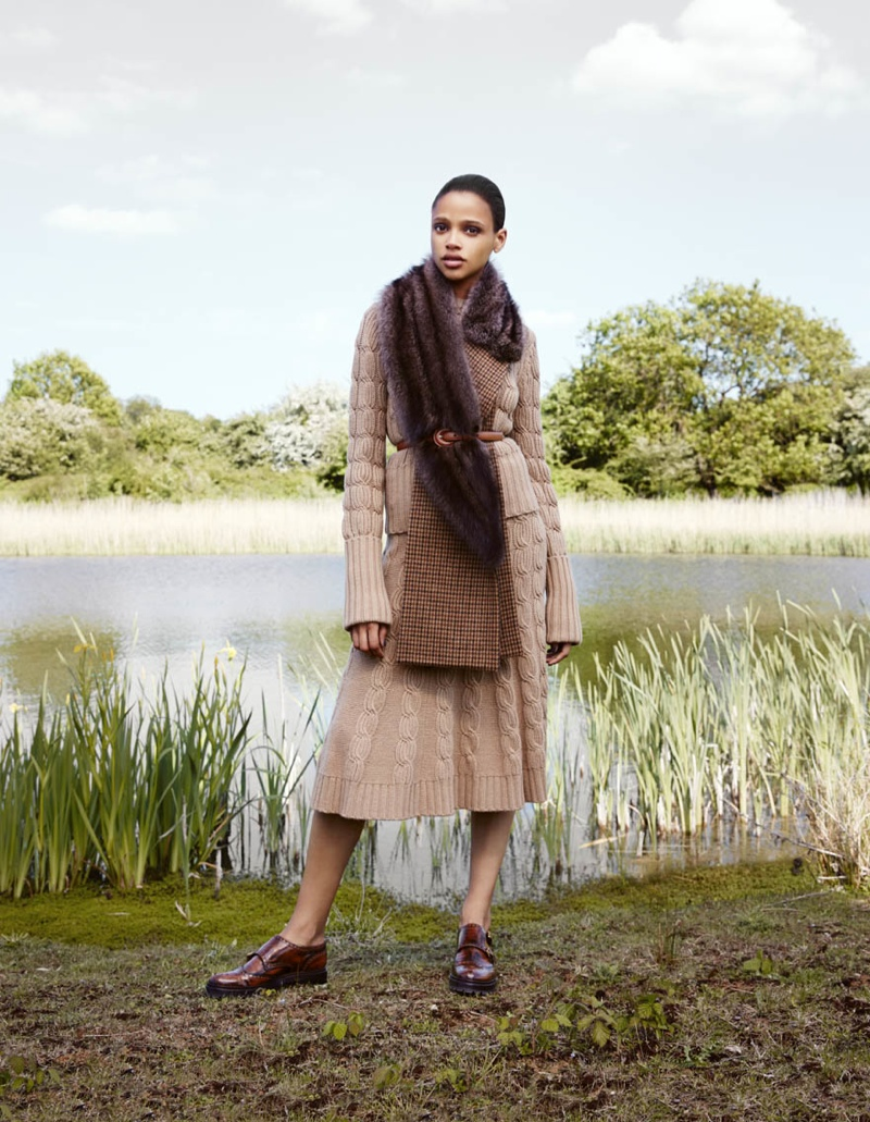 Aya models fur, sweater and skirt from Michael Kors Collection