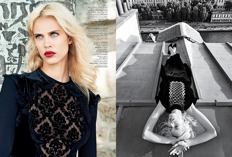 Romance Noire: Aymeline Valade Wears Dark Looks for Madame Air France