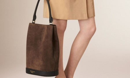 Burberry Suede Bucket Bag in Bitter Chocolate available for $2,495.00