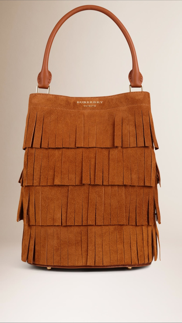 Burberry Bucket Bag with Tiered Fringe in Suede available for $2,795.00