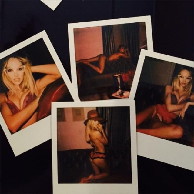 Four polaroids featuring Candice Swanepoel. Photo: Instagram/Anya Ziourova