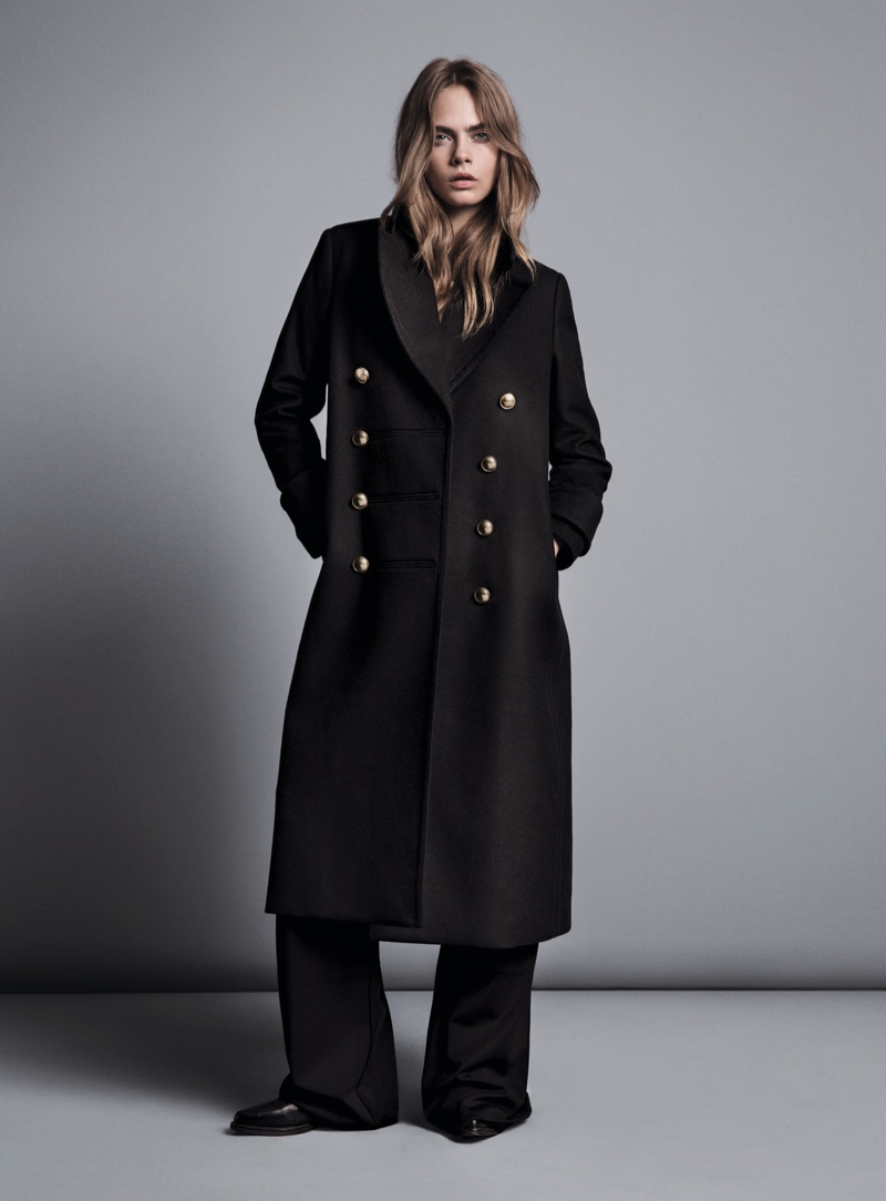 Cara models long military-inspired coat from Mango's fall collection