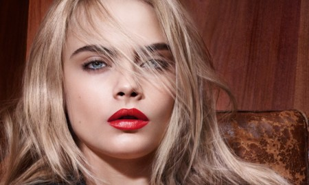 Cara Delevingne for YSL Beauty Rouge pur Couture Lipstick campaign