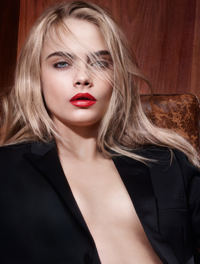 Cara Delevingne Goes Nearly Naked for YSL Beauty 'Rouge Pur Couture' Ad