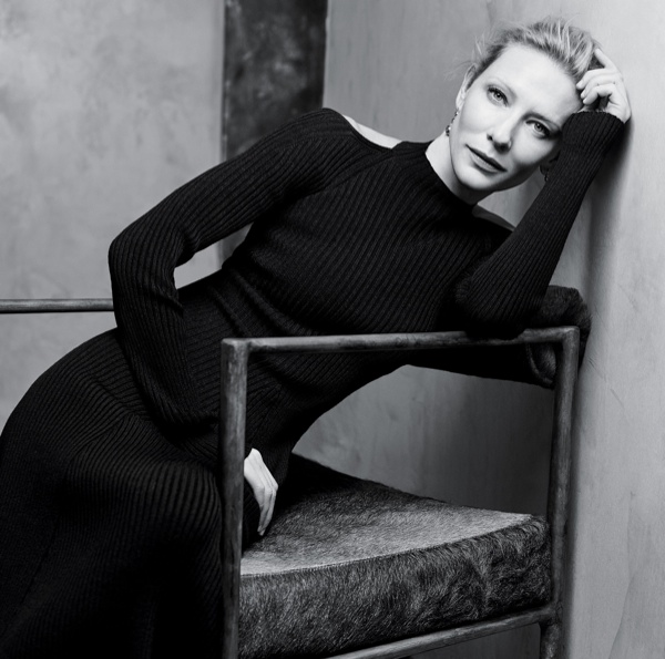 Cate is photographed in a Celine dress