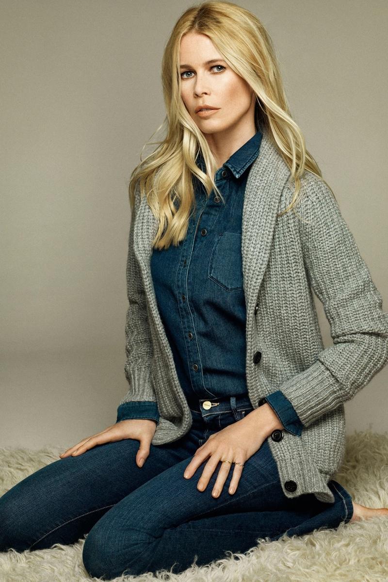 Claudia models cardigan knit from Tse collaboration