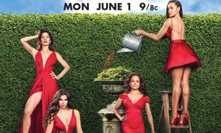 Devious Maids Season 3 poster with Dania Ramirez, Ana Ortiz, Judy Reyes and Roselyn Sanchez