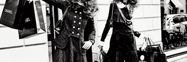 Anna Grostin + Vittoria Ceretti Go Shopping for Vogue Japan by Ellen von Unwerth