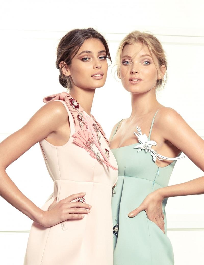 Elsa and Taylor model Prada dresses in pastels