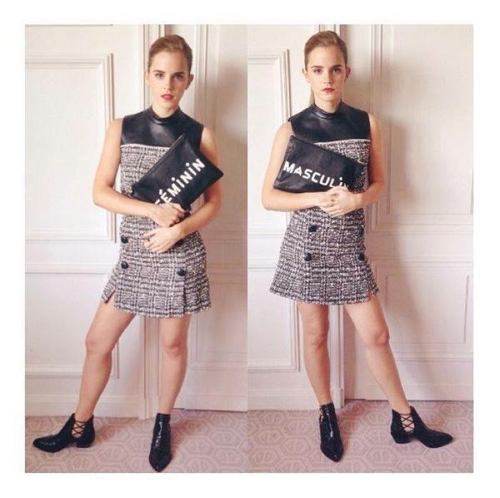 Emma Watson wears Erdem dress with Alexa Wagner boots