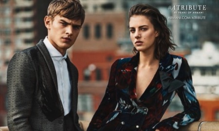 Eliza poses with male model Bo Develius in the new advertisements