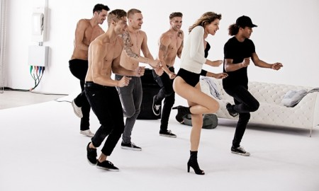 Gisele Bundchen on set of Stuart Weitzman commercial