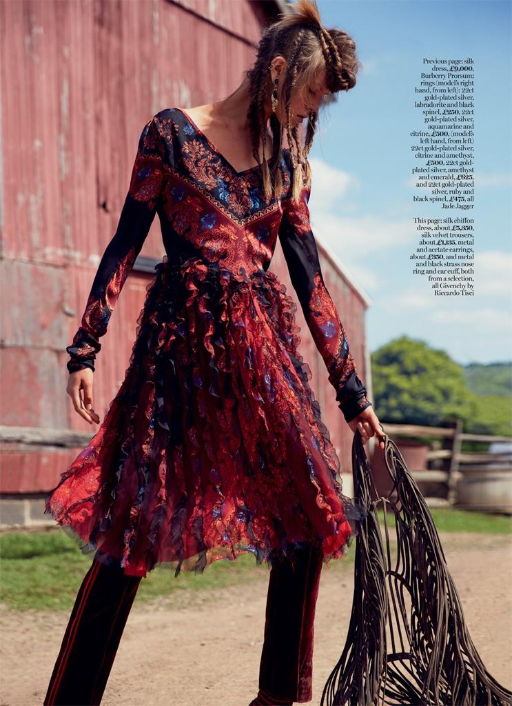 Josefien models an embellished Burberry Prorsum dress