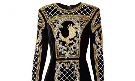 An embellished dress from the upcoming H&M x Balmain collaboration