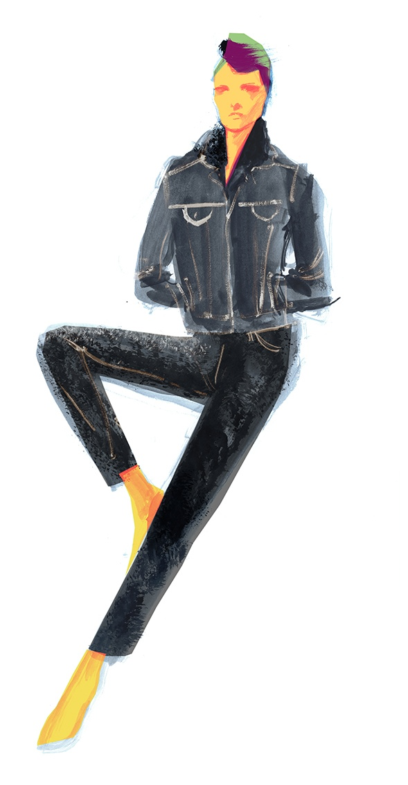 An illustration from the H&M Re-Born denim line
